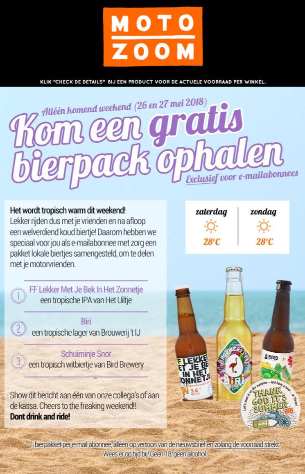 GRATIS bier 3-pack @ Motozoom