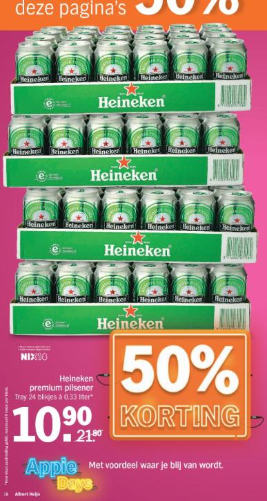 Vanaf morgen @ AH :  Heineken Premium pilsener blik 24x 33cl