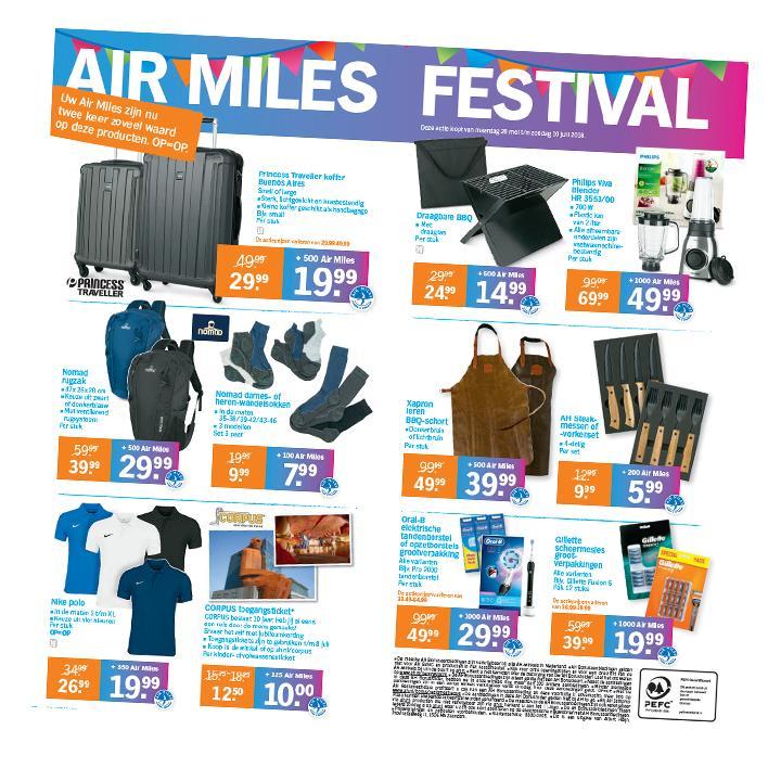AH Airmiles festival o.a. Gillette Fusion (12) en Mach3 (16) met 1000 airmiles €19,99