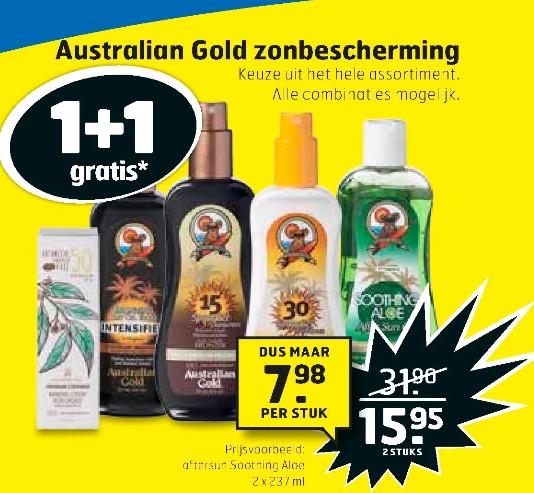 Hele assortiment Australian Gold zonbescherming 1+1 gratis @ Trekpleiser