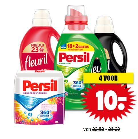 Fleuril en/of Persil wasmiddel - 4 pakken of flacons €10 @ Dirk / Dekamarkt