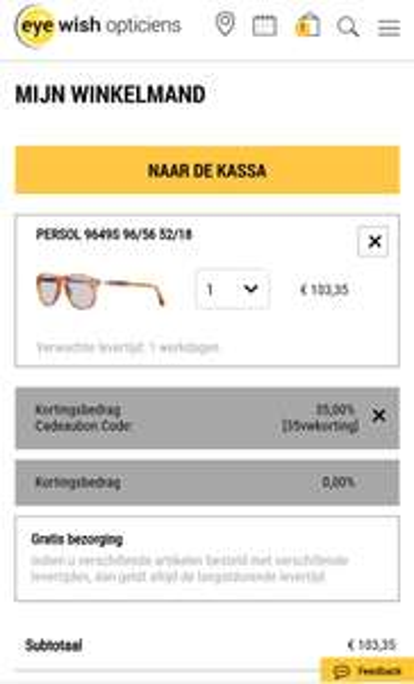 35% korting op brillen/zonnenbrillen