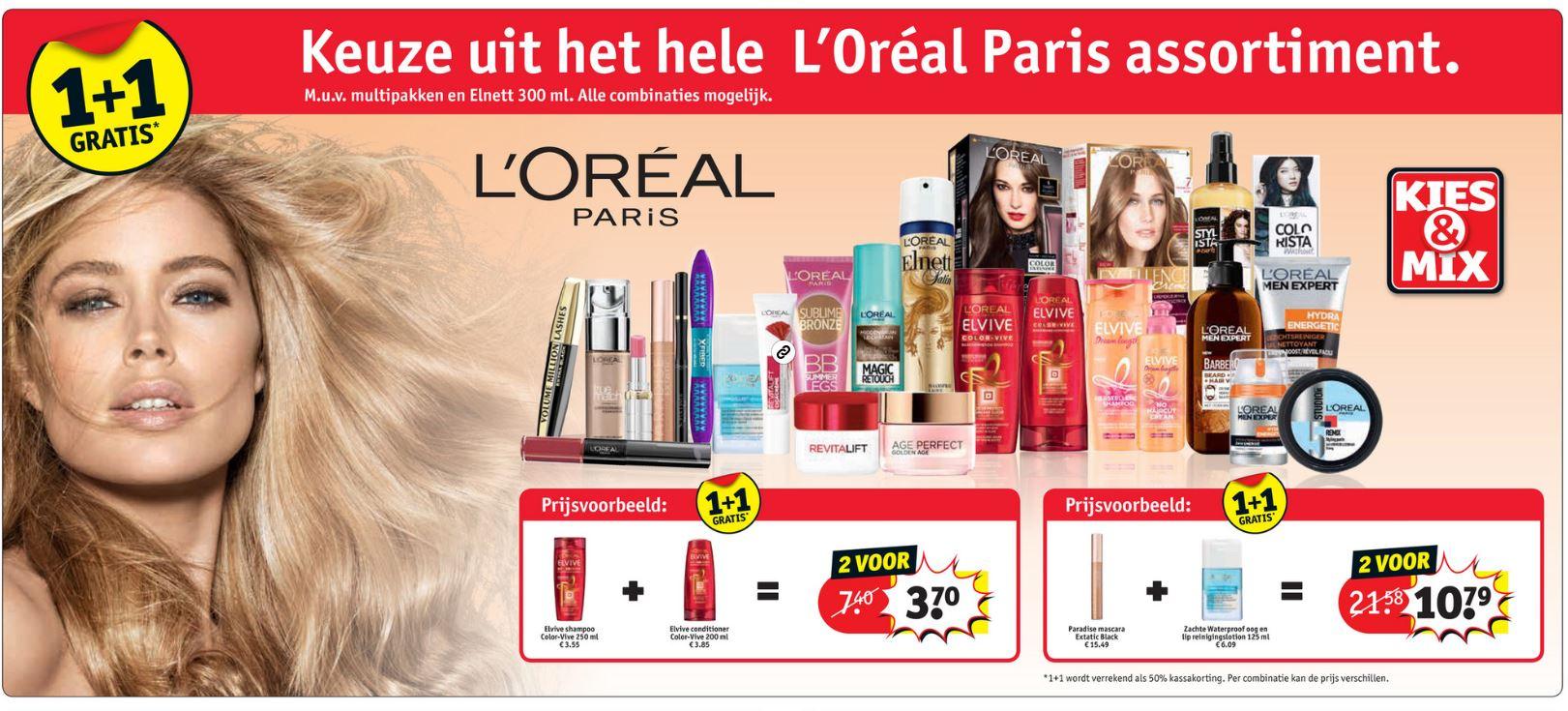 Alles van L'Oréal 1+1 GRATIS @ Kruidvat