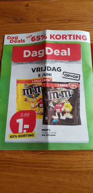 M&M's Choco of Pinda 300 gram voor €1 @ PLUS