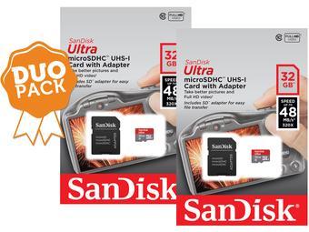 Duo-pack SanDisk Ultra 32GB microSDHC voor € 26,90 @ iBood