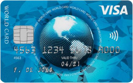 De Visa World Card. Nu met € 50,- vakantiegeld en het eerste jaar gratis