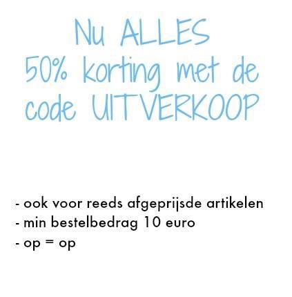 50% korting op alles bij baby-slofje.nl. Ook op SALE!