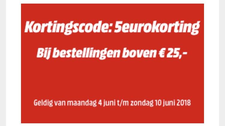Media Markt 5 euro korting vanaf 25 euro