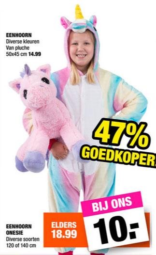 Eenhoorn kids onesie - 2 maten - €10 @ Big Bazar