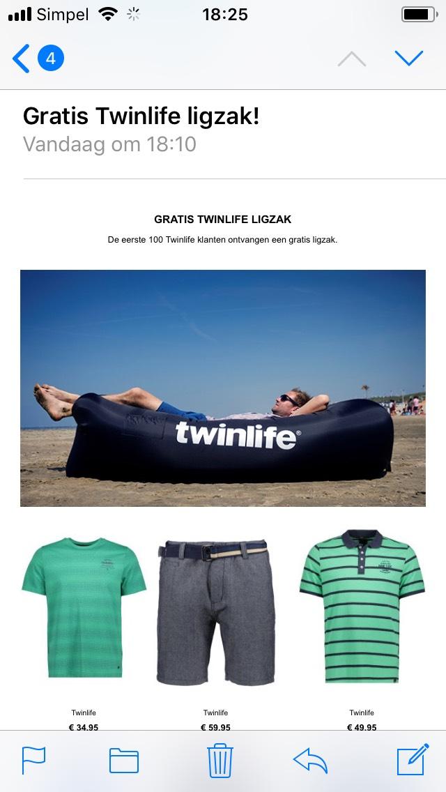 Gratis Twinlife ligzak voor eerste 100 bestellingen