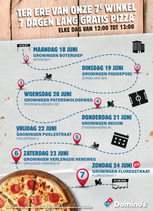 (18-24 juni 12:00-13:00 uur) Gratis pizza Domino's Groningen
