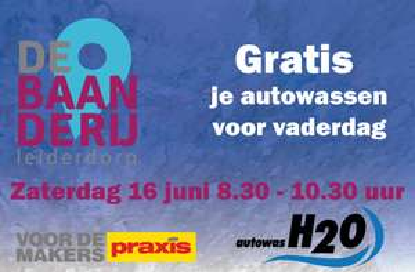 Op 16 juni gratis autowassen voor vaders bij Autowas H2O Leiderdorp (met kind komen)