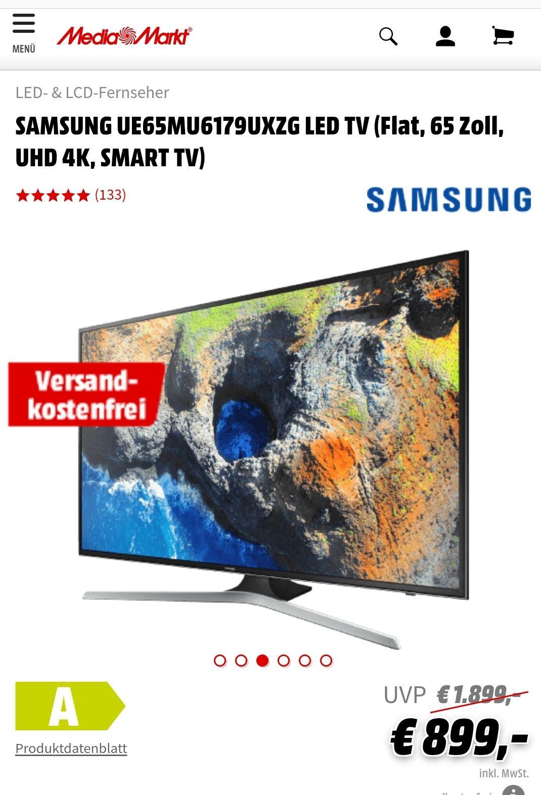 """SAMSUNG 65"""" 4K UHD TV  """"Grensdeal"""""""