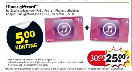 2 iTunes-kaarten van €15 voor €25 @ Kruidvat