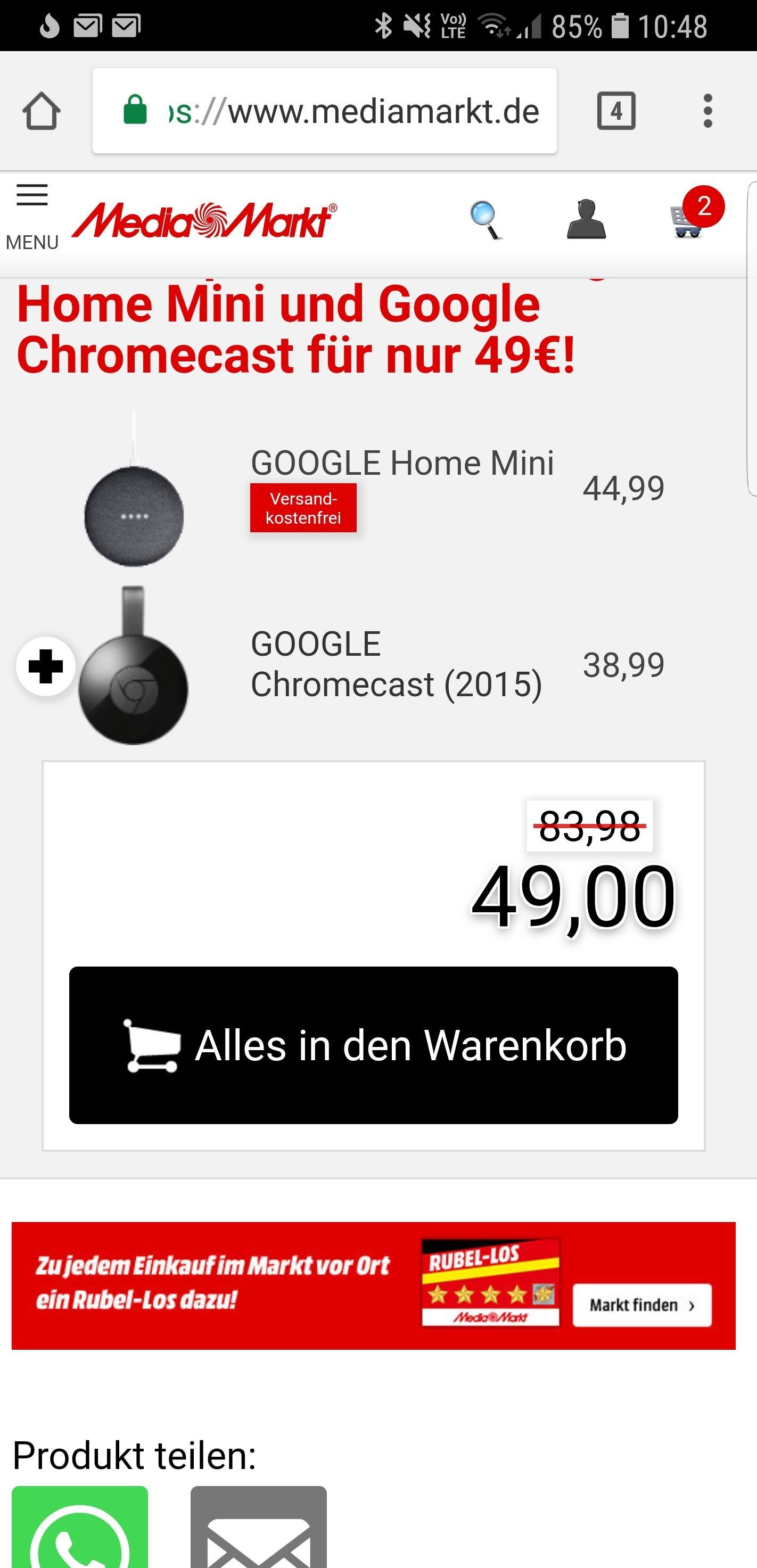[Grensdeal] Google home mini + Chromecast 2 voor €49 @MediaMarkt.de en Saturn.de