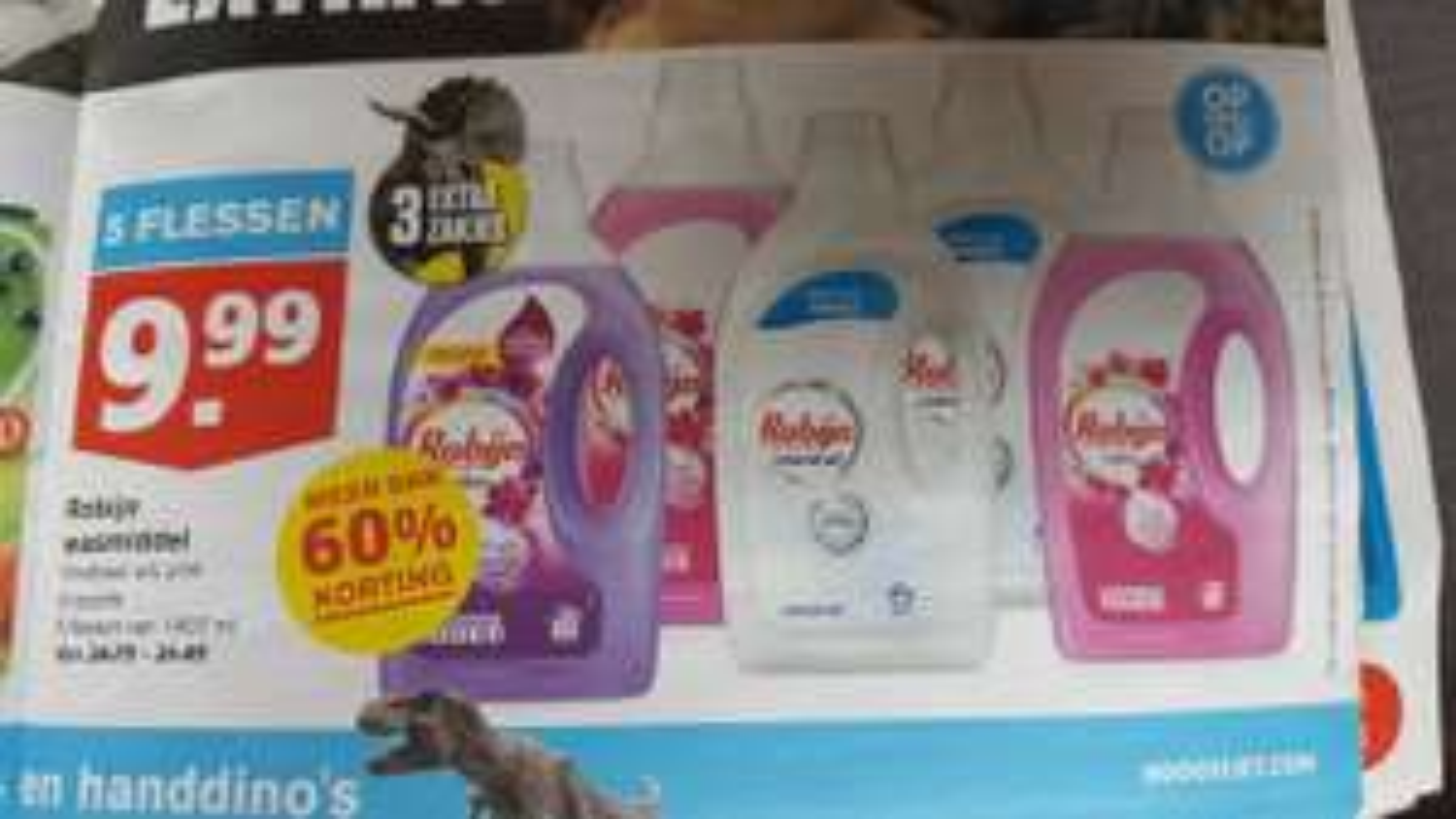 Robijn wasmiddel 5 flessen €9,99