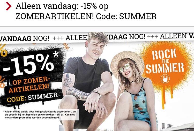 15% korting op zomer artikelen bij LARGE
