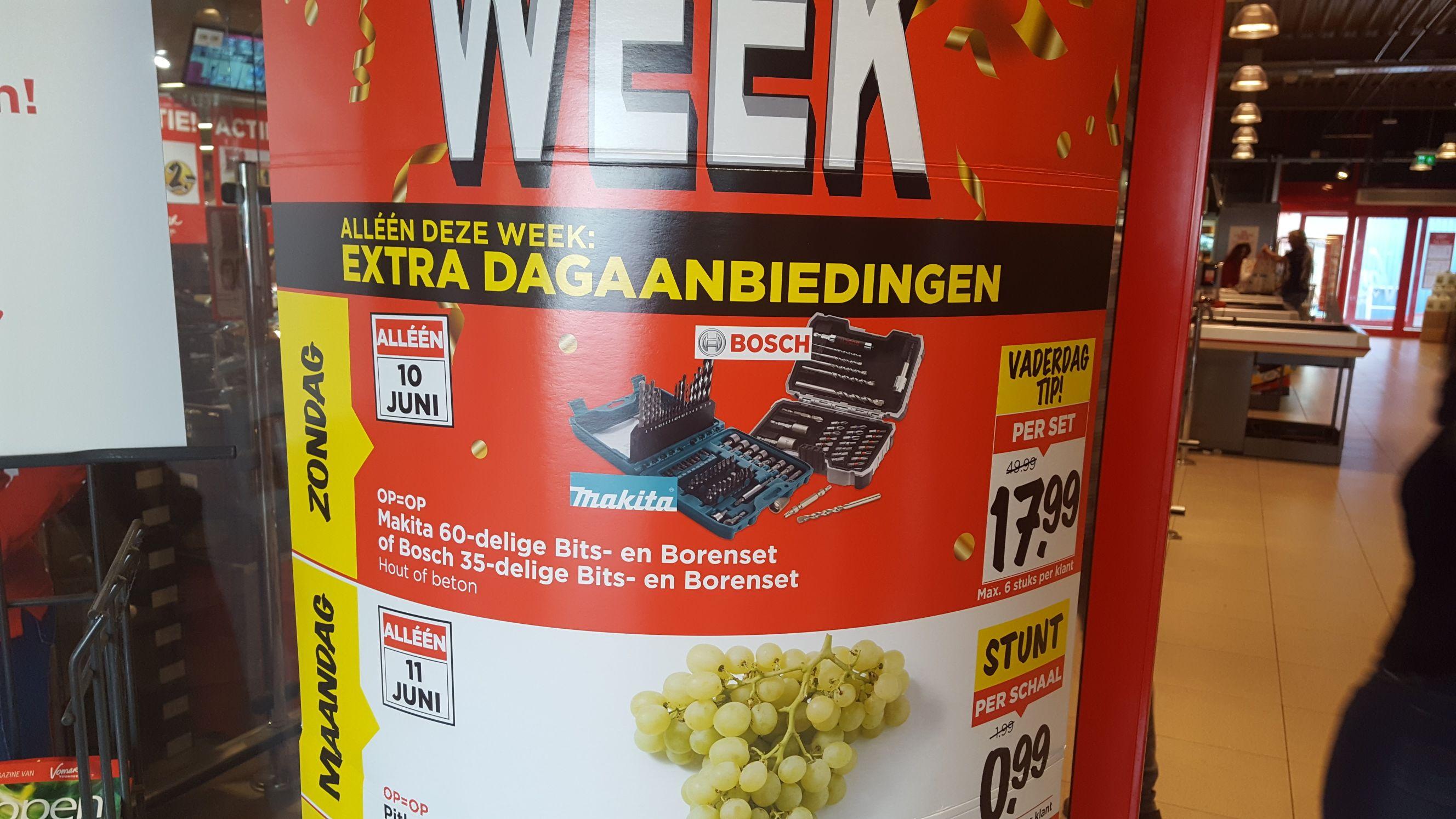 (Alleen zondag 10 juni) Makita 60-delige bits- en borenset of Bosch 35-delige bits- en boren set voor hout of beton