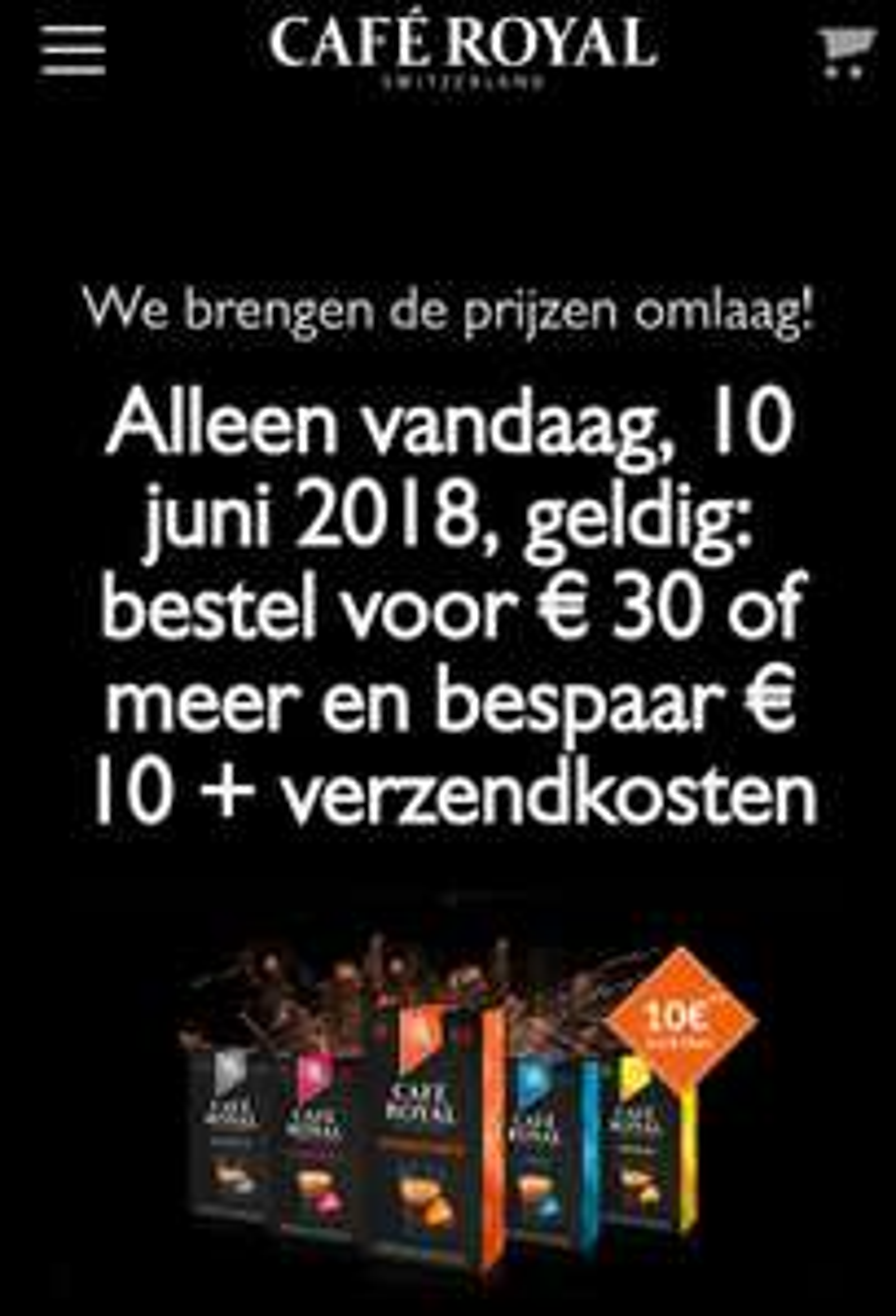 €10 korting + gratis verzending vanaf 30 euro bij Café Royal.
