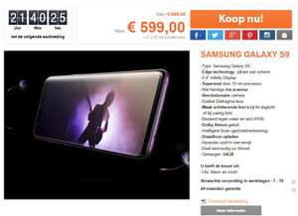 Samsung Galaxy S9 Dual Sim 64Gb 1dayfly aanbieding (zonder speaker)