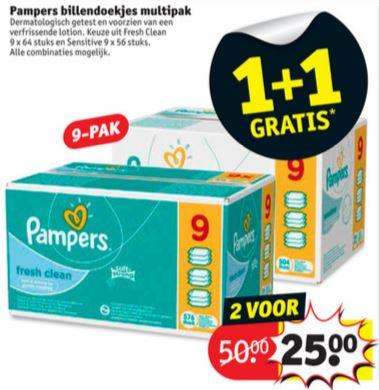 V.a. 12/6: Pampers billendoekjes (fresh clean 18 x 64 stuks of sensitive 18 x 56 stuks) voor €25 @ Kruidvat