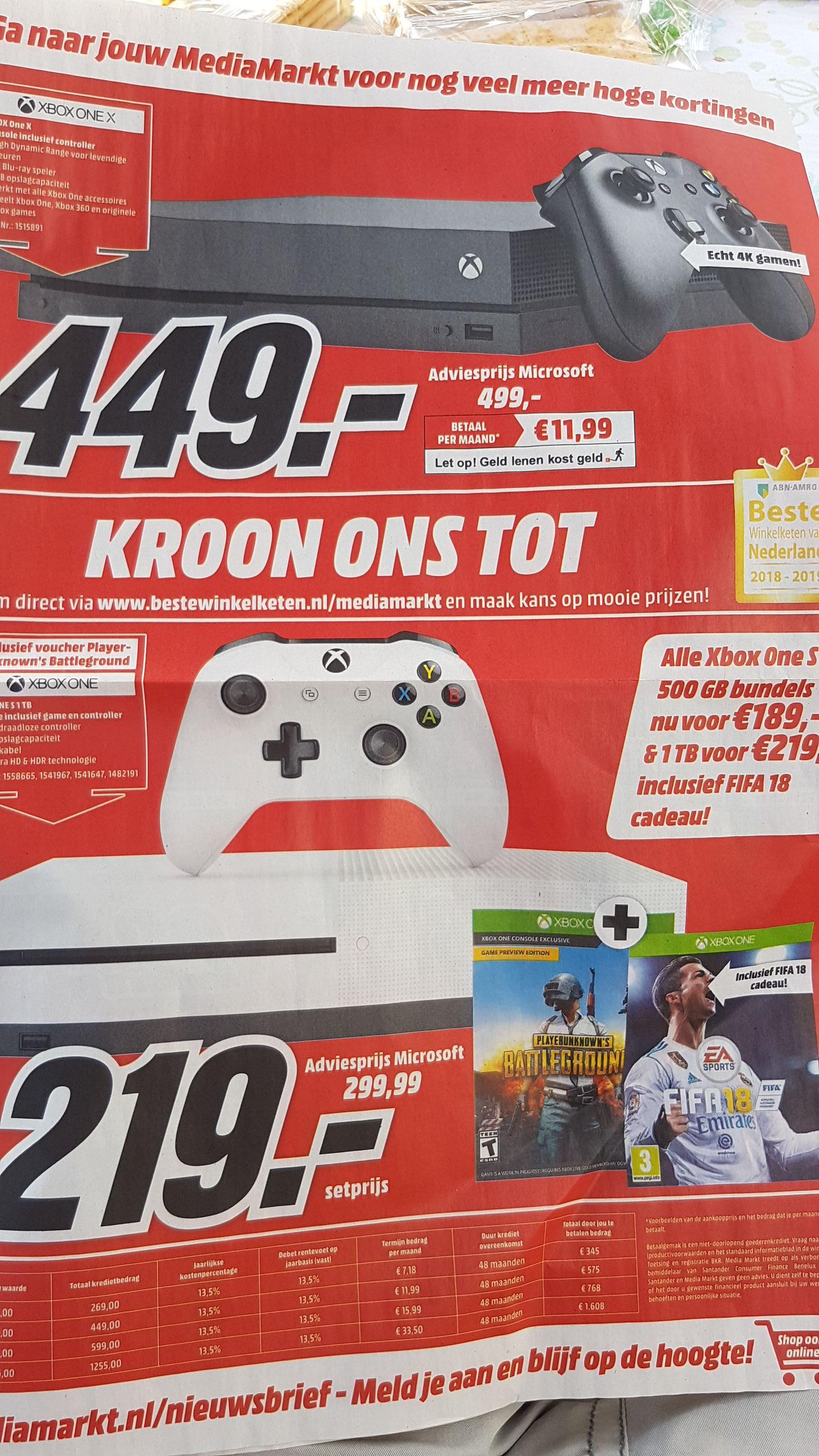 Xbox one X 449 en one S 189/219