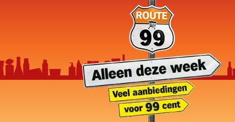 Route 99 met veel aanbiedingen voor 99 cent @ Albert Heijn
