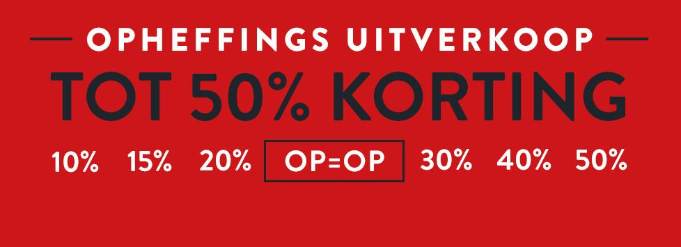 Opheffingsuitverkoop, korting tot 50%