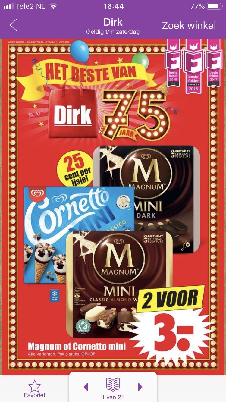 Magnum en Cornetto's 2 dozen €3