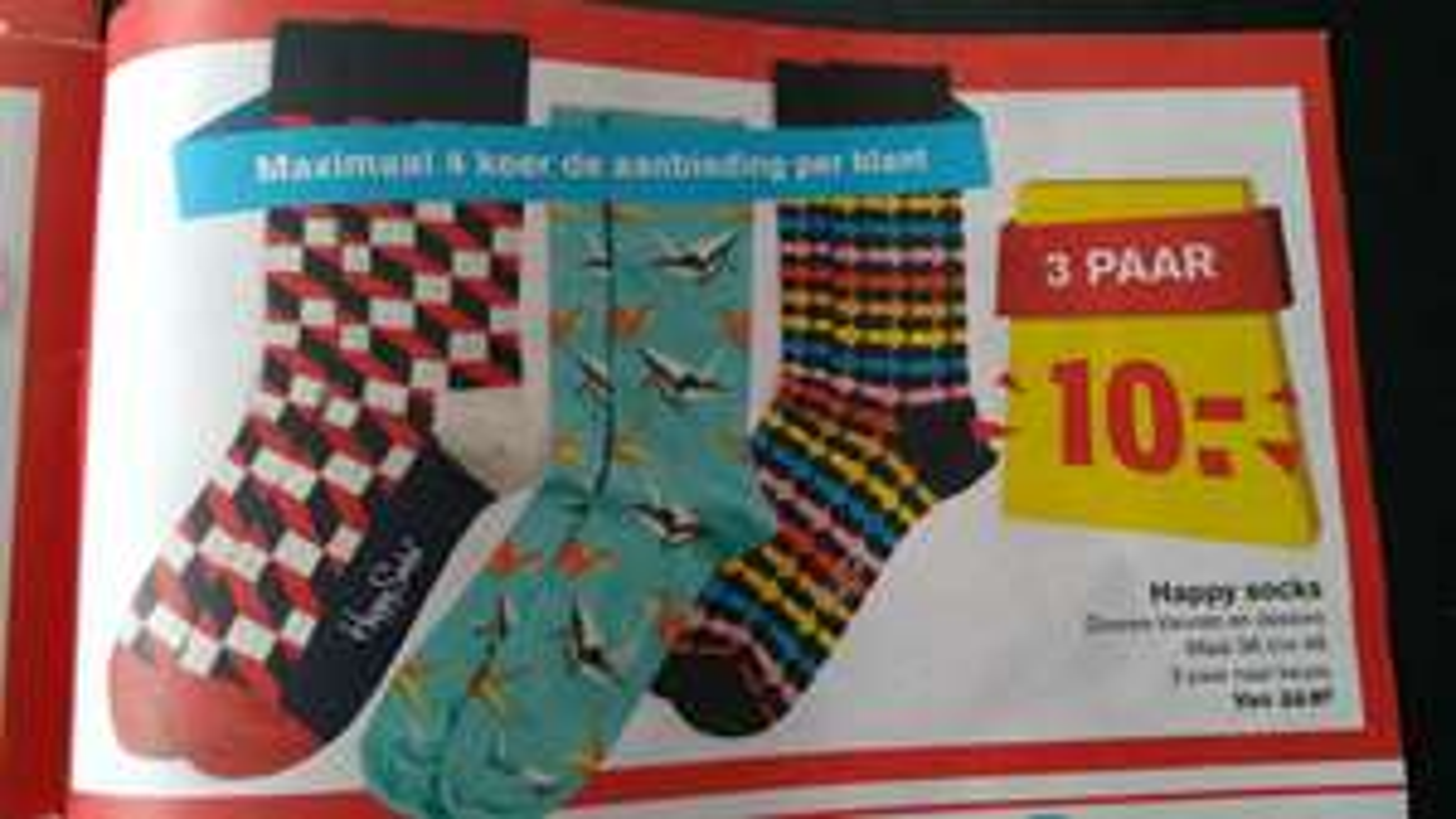 3 paar Happy Socks 10,- Hoogvliet