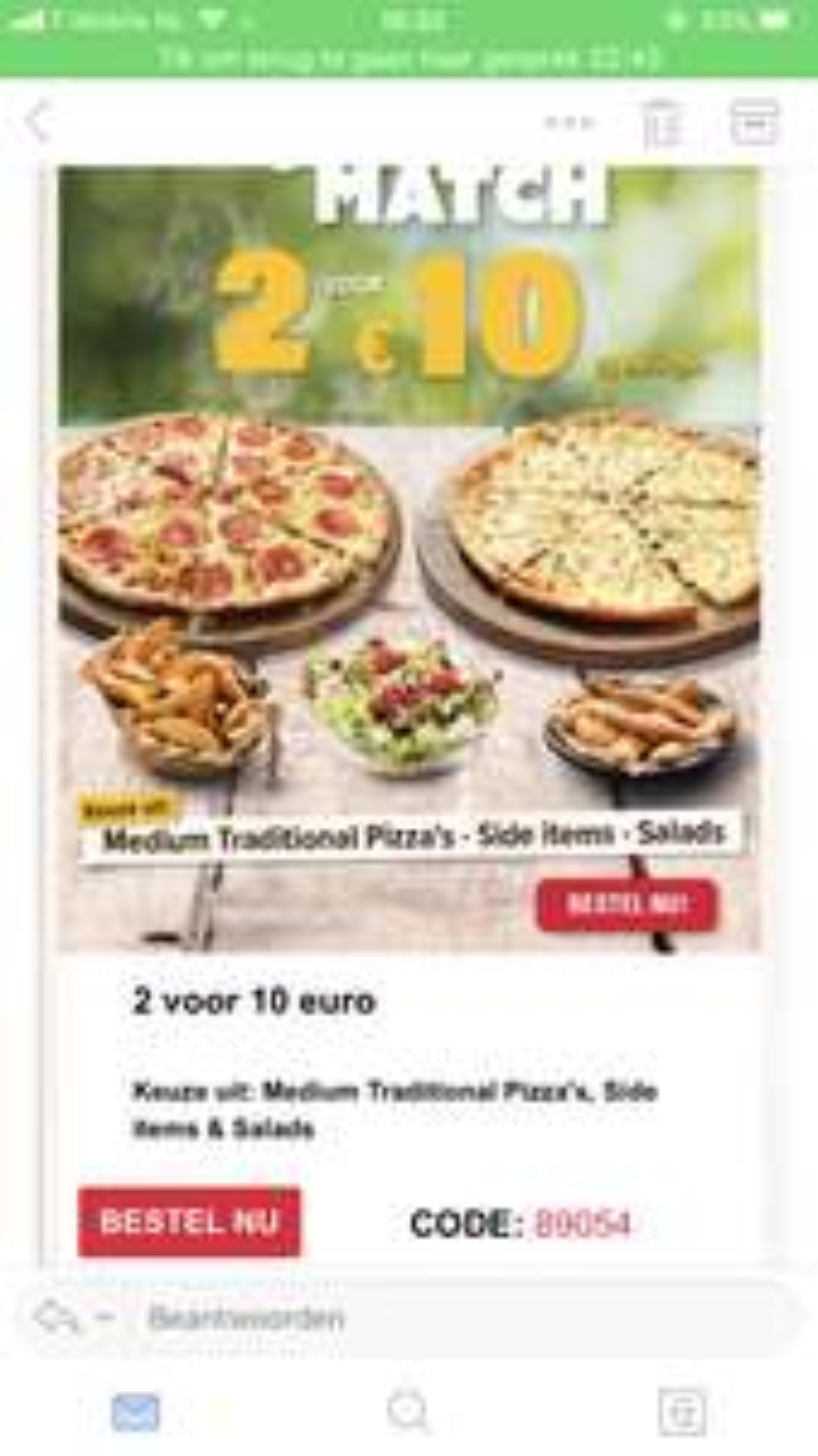 2 traditional pizza's 10euro domino