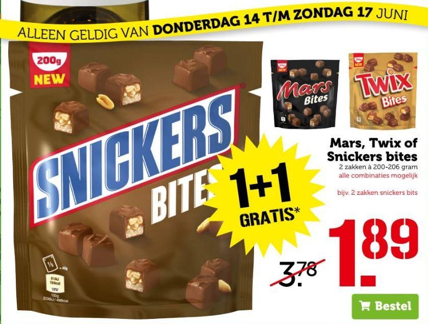 Mars, Twix of Snickers bites 1+1 gratis @ Coop