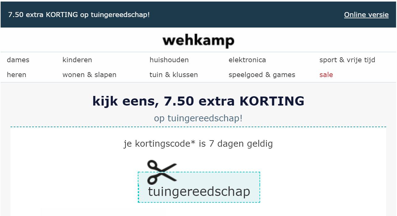 €7,50 extra korting op tuingereedschap vanaf €50 @ Wehkamp