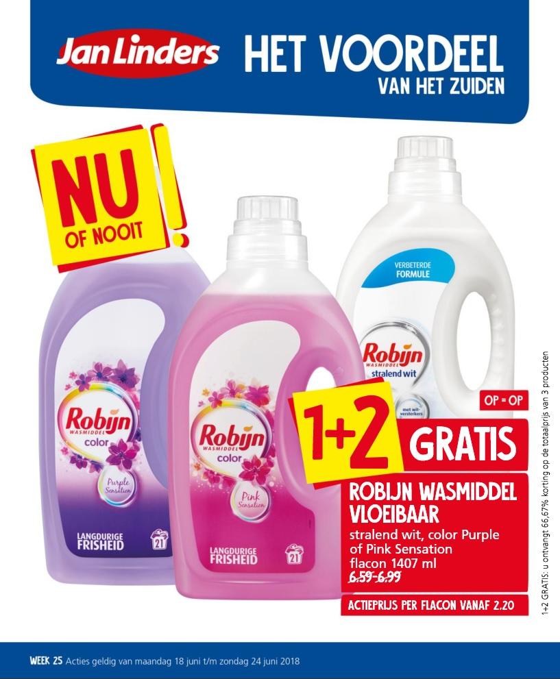 Jan Linders: Robijn wasmiddel vloeibaar 1+2 gratis!