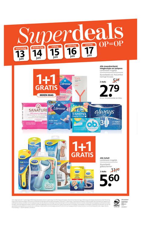 Etos Vaderdag weekend Superdeals 1+1 gratis op Alle maandverband, inlegkruisjes en tampons ( wat een timing)