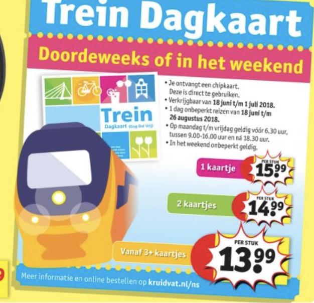 Trein dagkaart doordeweeks of in het weekend v.a. €13,99
