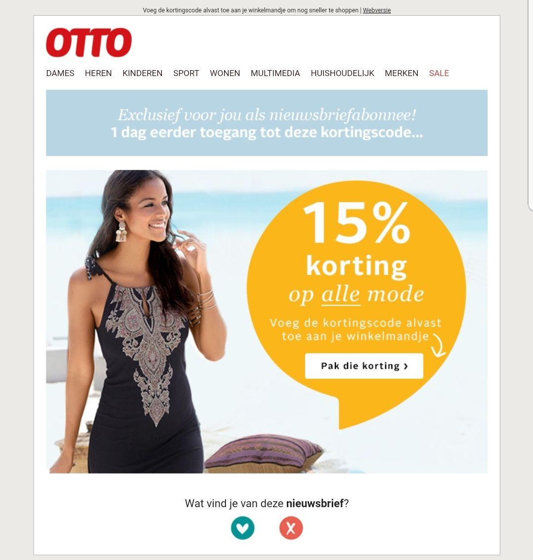 15% korting bij Otto