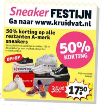 50% (extra) korting op restanten sneakers @ Kruidvat