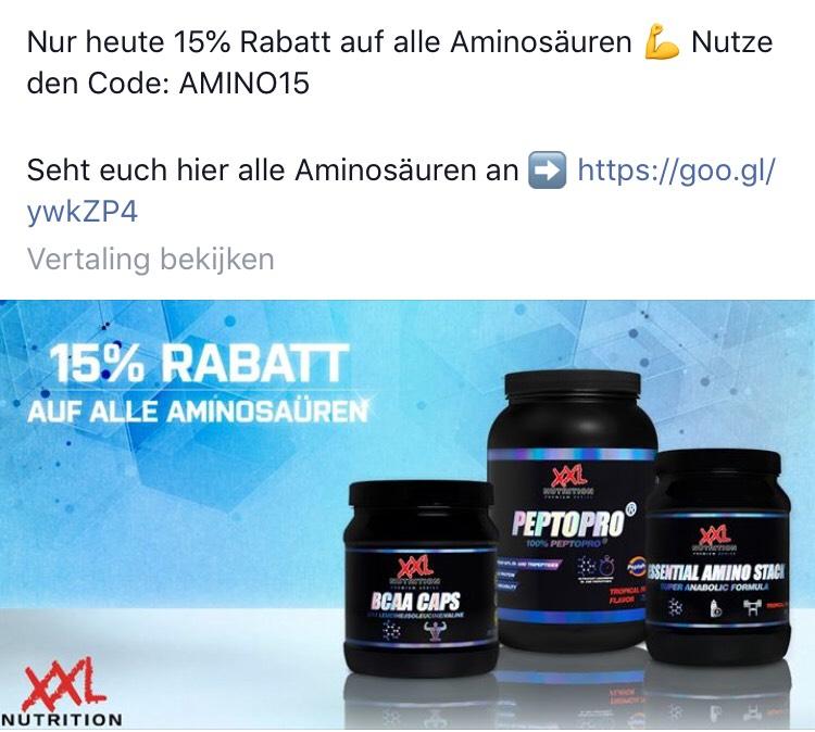 15% korting op XXL Nutrition Amino