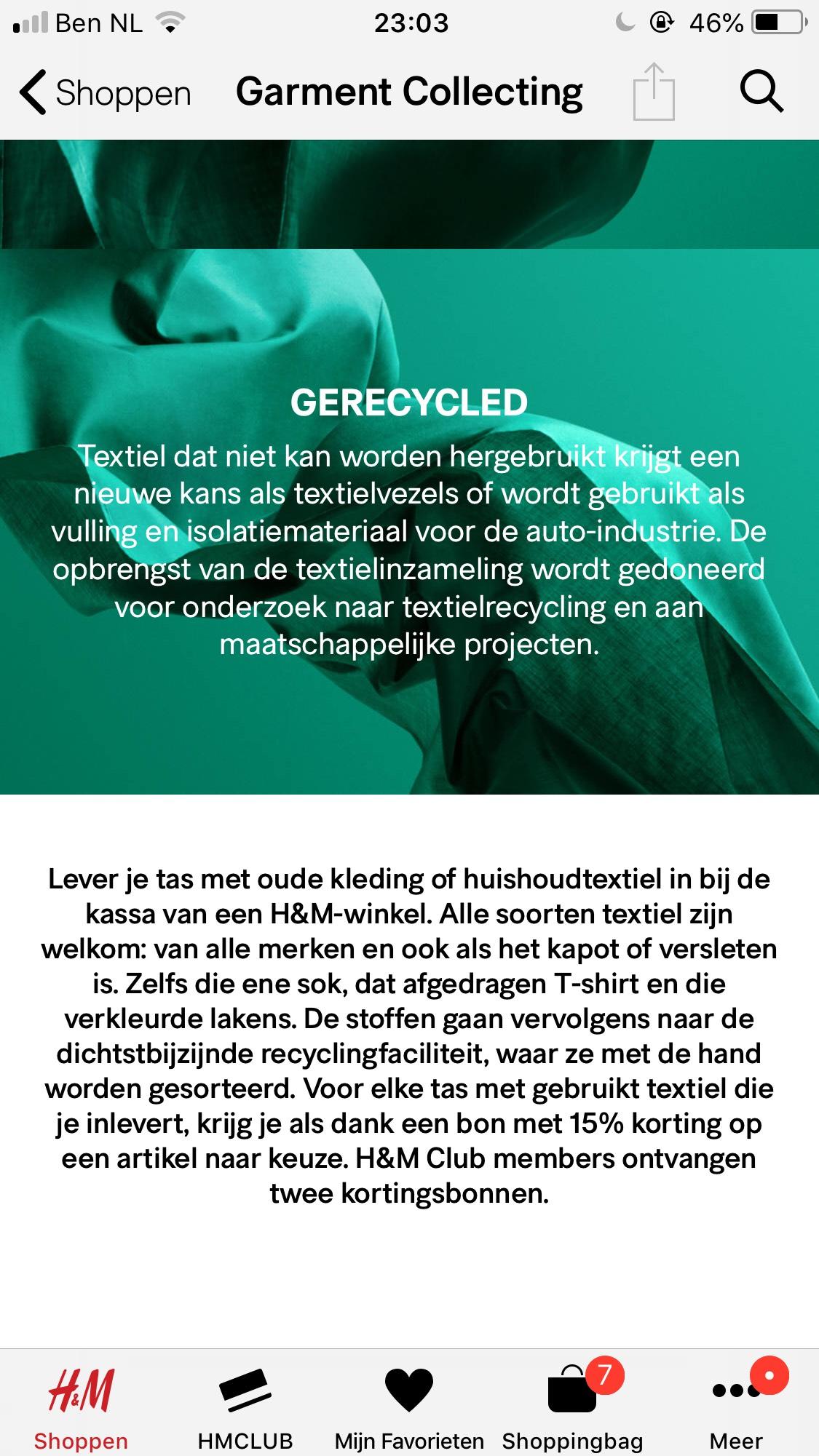 Recycle jouw kleding bij H&M en ontvang 15% Korting!