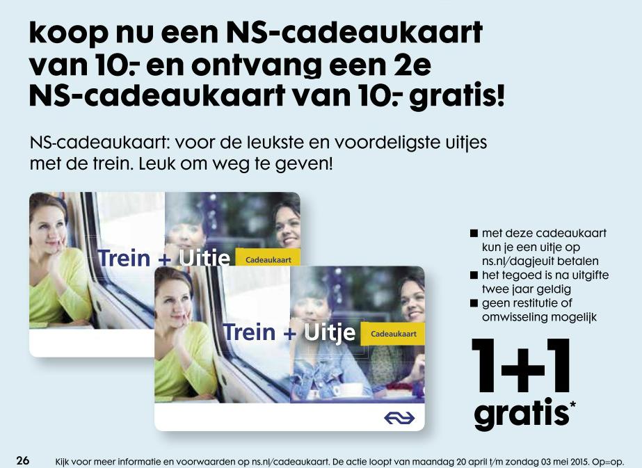 NS Cadeaukaart van 10 euro 1+1 gratis @ HEMA Winkels