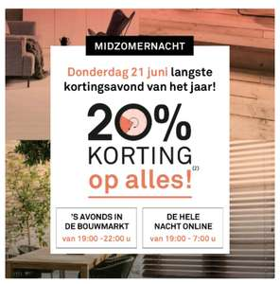 Karwei: donderdagavond 20% korting op alles