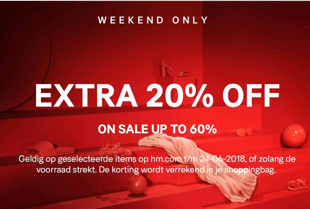 20% extra korting op sale artikelen bij H&M