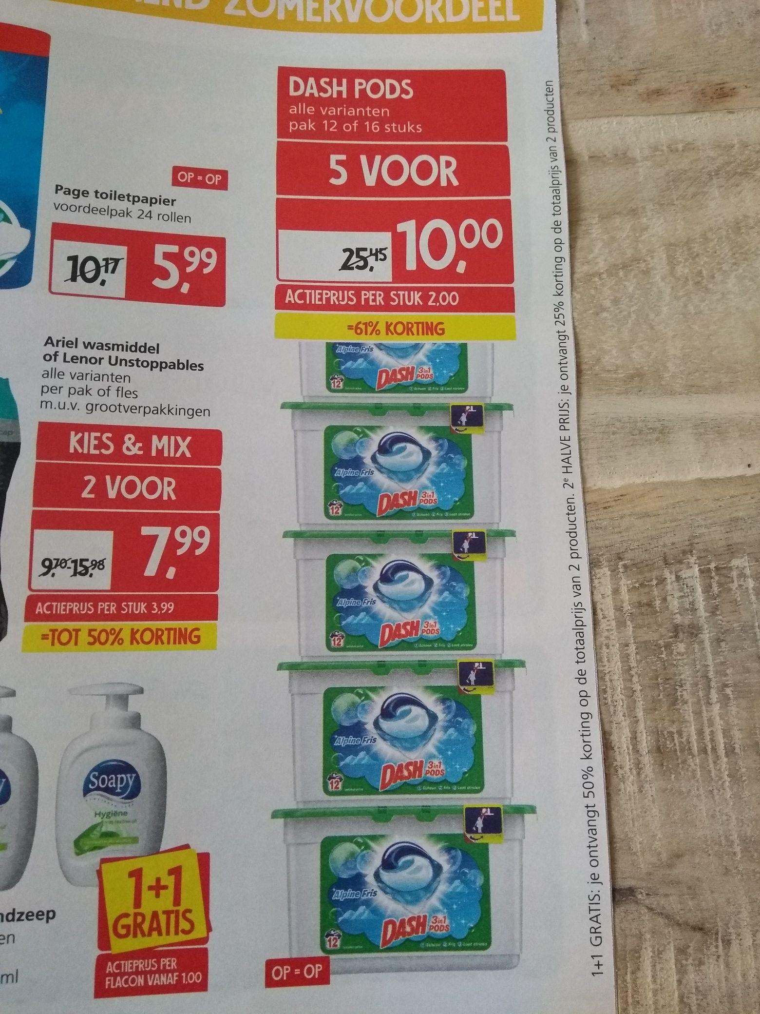 Dash pods alle varianten 12 of 16 stuks. 5 verpakkingen voor €10