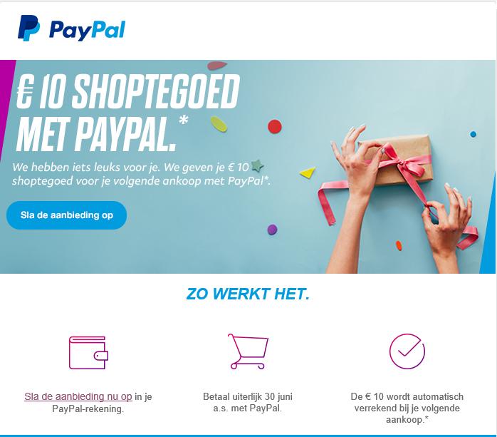 Tien euro gratis shoptegoed @ PayPal