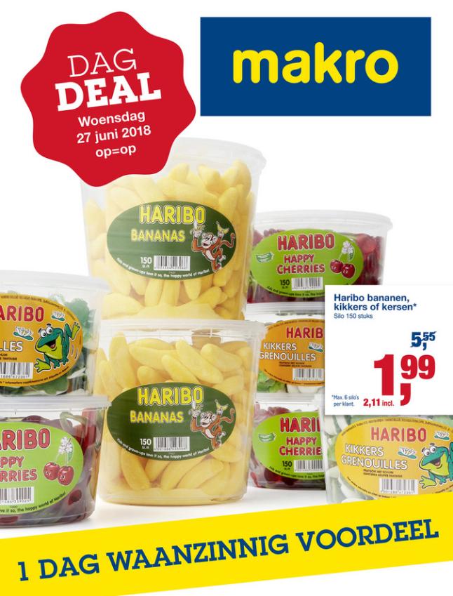 makro wo27  Haribo silo. - 65%. 150x. banaan kersen kikkers.
