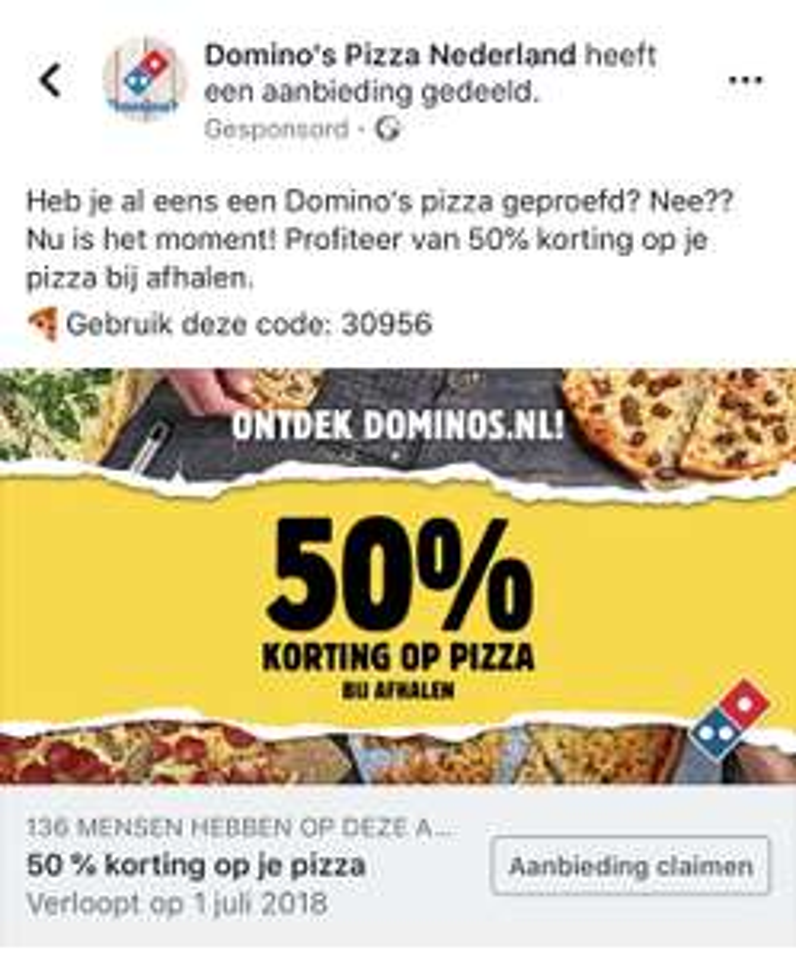 50% korting bij Domino Pizza
