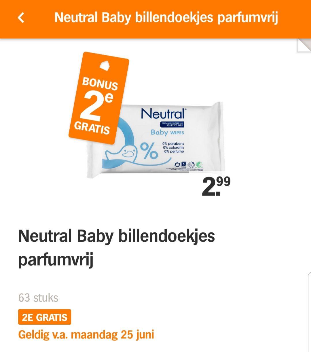 Neutral baby billendoekjes parfumvrij 2 voor €2,99
