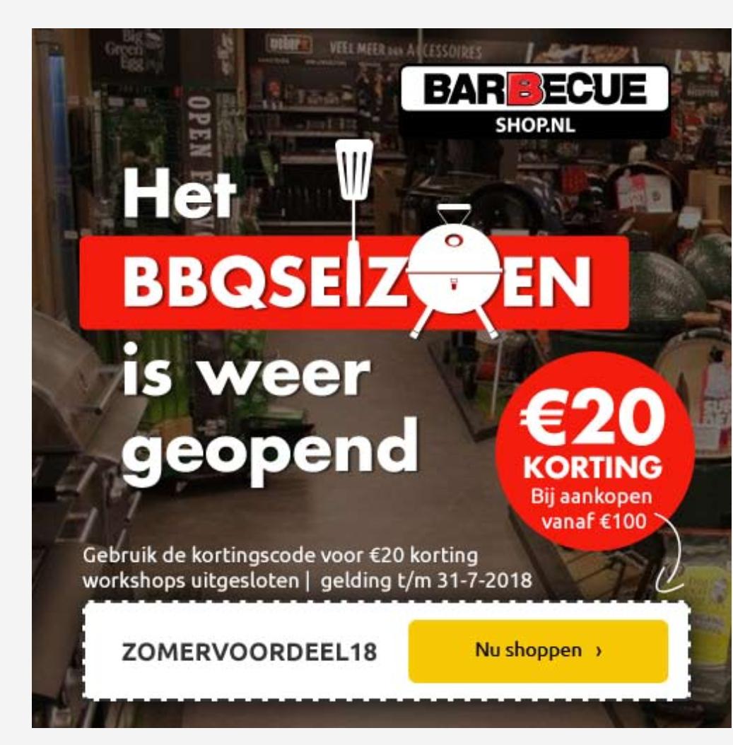 20 euro korting barbecueshop (v.a. aankoop 100 euro)