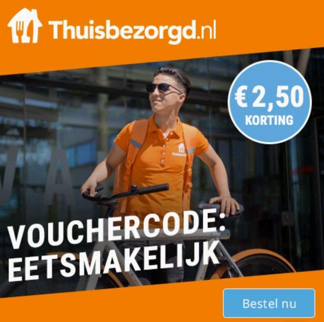Alleen vandaag €2,50 korting op Thuisbezorgd.nl